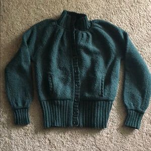 MODA International Green Chunky cardigan Sweater